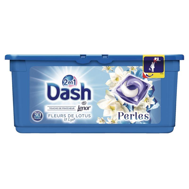 Paquet de 30 capsules de lessive liquide Dash 2-en-1 Perles - différents parfums au Auchan Petite-Forêt (59)