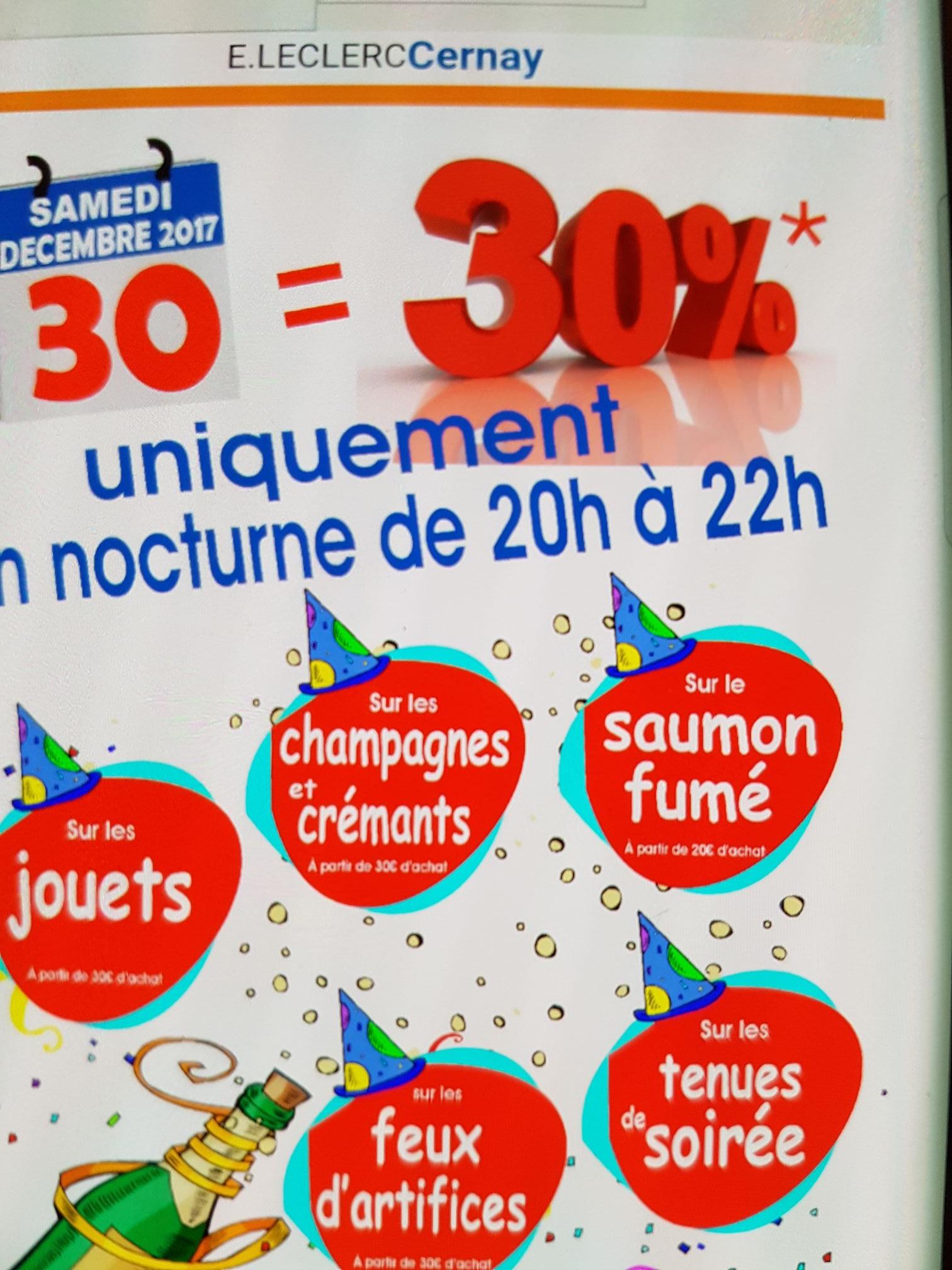 30% de réduction en bon d'achat sur le champagne, jouets, tenue de soirée, feu d'artifice et saumon - Cernay (68)