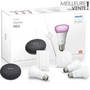 Pack Philips Hue - pont de connexion + télécommande + 3 ampoules LED White and Color (E27) + assistant vocal Google Home Mini