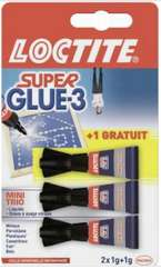 Lot de 3 Tubes de Colle Extra Forte Superglue3 - 3 x 1g (via BDR + Carte de Fidélité)