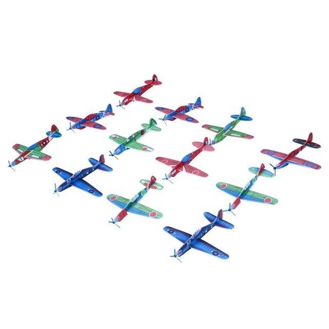 Lot de 12 Avions Jetting en Polystyrène pour Enfants  - Couleurs aléatoires