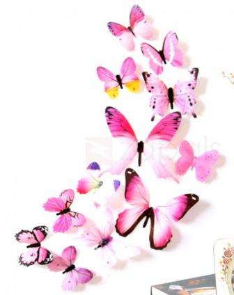 Lot de 12 Autocollants Muraux 3D Papillons - Coloris aléatoire (Frais de livraison inclus)