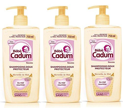 Lot de 3 Shampooing Bébé Cadum Merveille de Miel Doux Protecteur Pour Cheveux Fins/Délicats - 750 ml