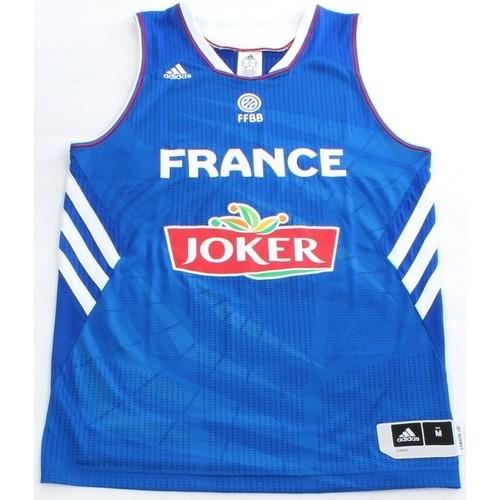 Maillot Adidas Bleu Officiel de l'équipe de France de Basketball  - Tailles : S, M ou L (vendeur tiers)