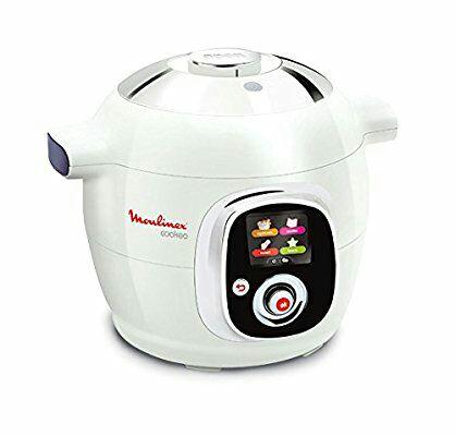 Multicuiseur Moulinex CE7041 Intelligent Cookeo avec 100 Recettes - Blanc Finition Chromé