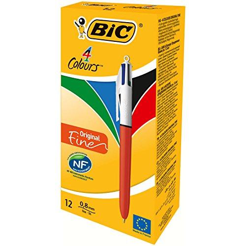 Boîte de 12 Stylos-bille BIC 4 Couleurs Original Pointe Fine