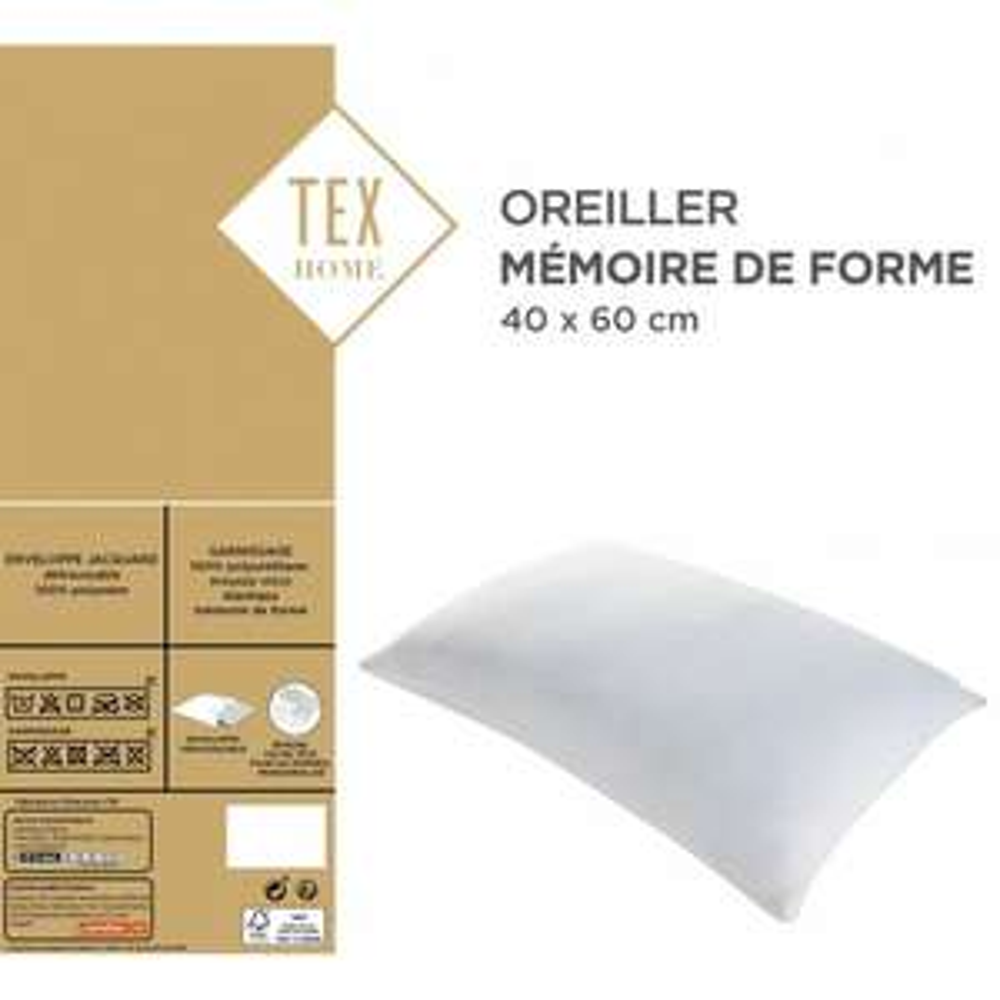 Oreiller mémoire de forme TEX  - 40 x 60cm