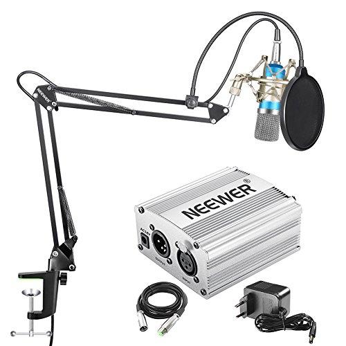 Neewer NW-700 Kit de Microphone à Condensateur – Micro (Bleu) et Alimentation Fantôme, Bras de suspension et Filtre Pop, Câble XLR Mâle à Femelle (vendeur tiers)