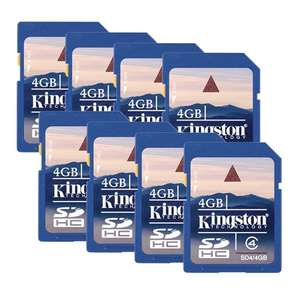 Lot de 8 cartes SDHC Kingston 4 Go, Classe 4