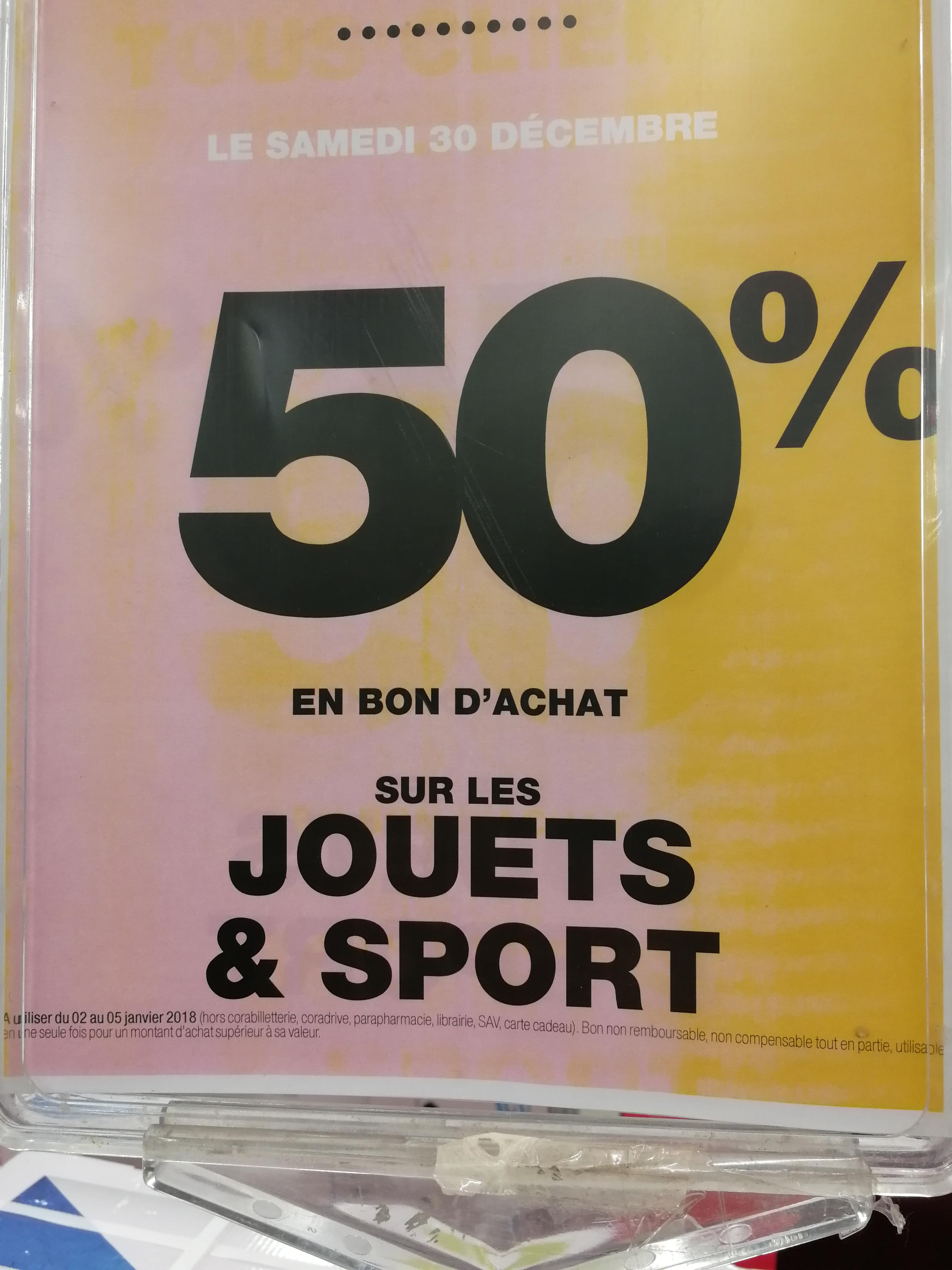 50% en bon d'achat sur les jouets et sport - Cora Arcueil (94)