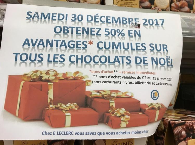-50 % en bon d'achat sur les chocolats de Noël