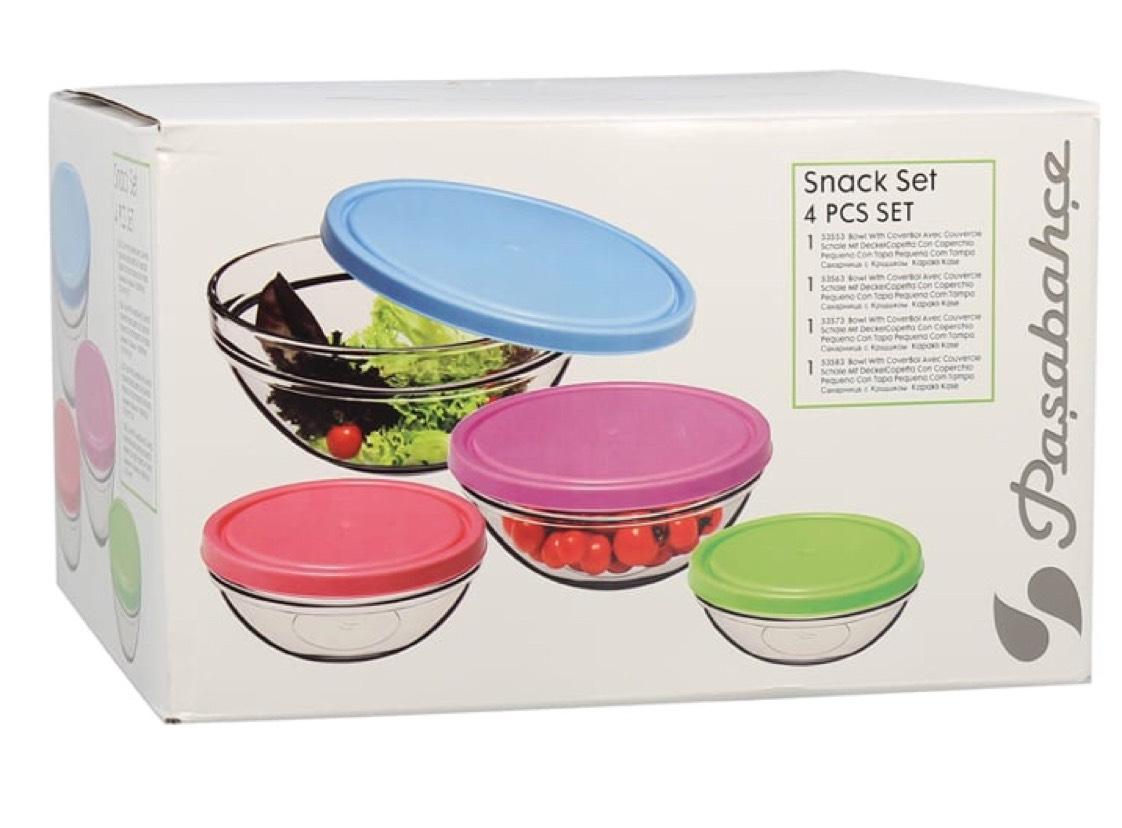 Set 4 saladierS en verre avec couvercle - 14/17/20/23 cm