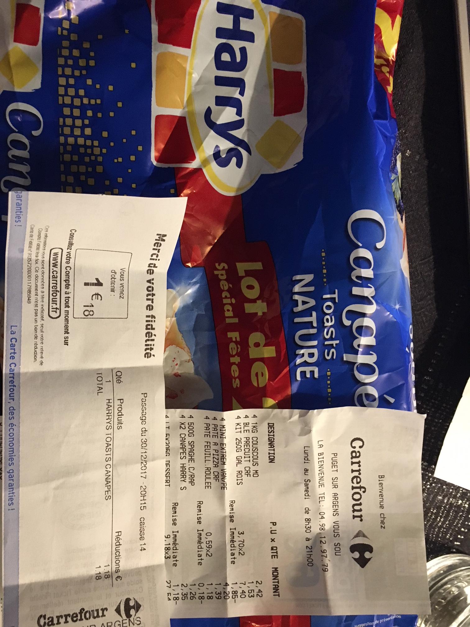 Lot 2 Paquets de Toasts Canapés Harry's gratuits (via 1.18€ fidélité, Pujet s/ Argens - 83)