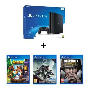 Sélection de pack PS4 en promotion - Ex : Console Sony PS4 Pro + Crash Bandicoot + Destiny 2 + Call of Duty : WW2