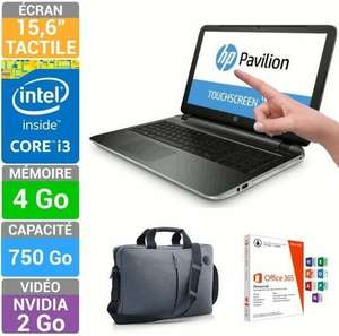 "PC portable 15.6"" HP P054-NF + Mallette Value Top + Office 365 Personnel"