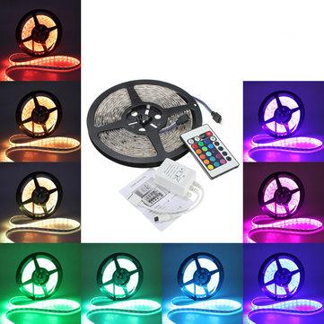 Bande de 300 LED 5050 RGB 5 mètres waterproof avec télécommande (Alimentation non incluse)