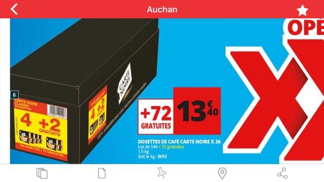 Lot de 4 Pack de 36 dosettes Carte Noire + 2 packs gratuits (6*36 dosettes)