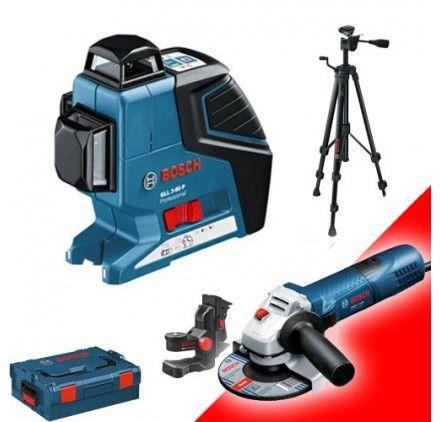 Pack Laser Bosch GLL 3-80P + Coffret BM1 Plus + Trépied + Meuleuse