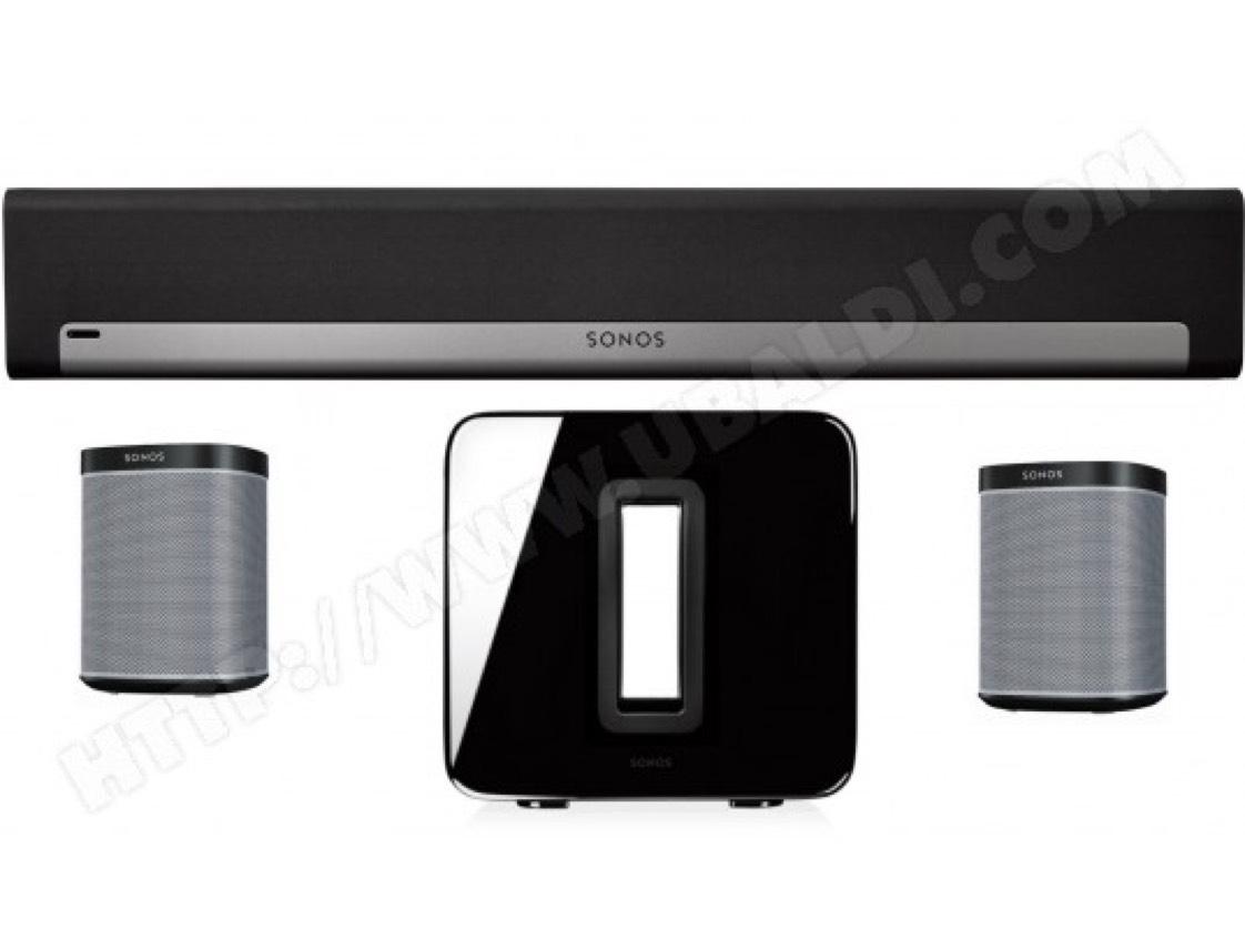 Barre de son Sonos Playbar + SUB v2 Noir + 2 x PLAY:1 -  Noir