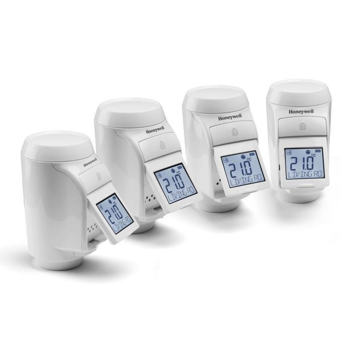 Pack de 4 têtes thermostatiques programmables Honeywell Evohome avec écran