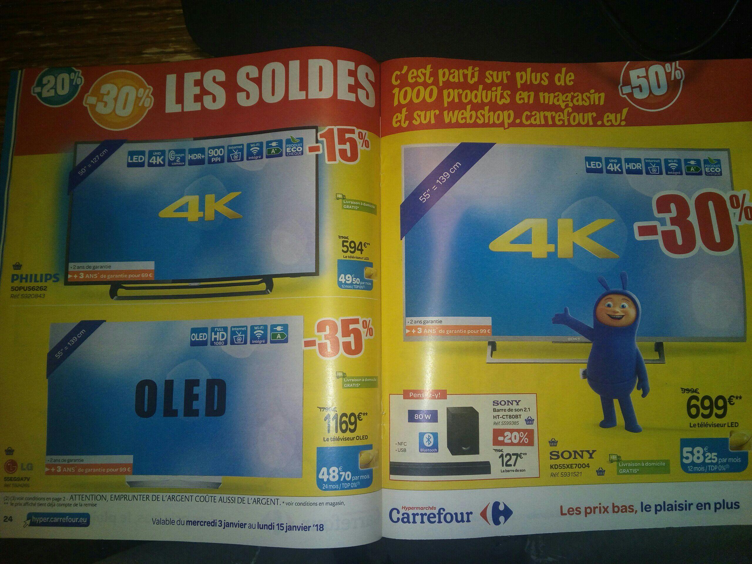 """Jusqu'à 50% de réduction sur une sélection de TV, d'appareil vidéo et audio - Ex: TV 55"""" Sony KD55XE7004 - Smart TV, 4K  (Frontaliers Belgique)"""