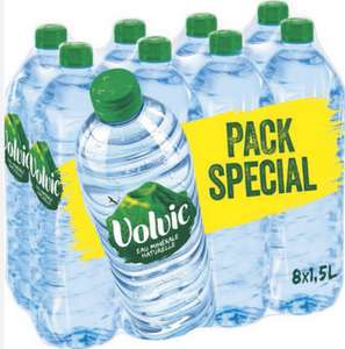 Lot de 4 Packs de 8 bouteilles d'eau Minérale Naturelle Volvic - 32 x 1.5L