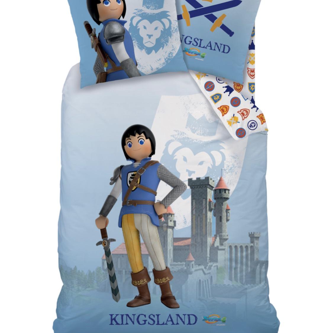 Parure de Couette Playmobil Kingsland en Coton Bleu-gris et blanc - 140 x 200cm