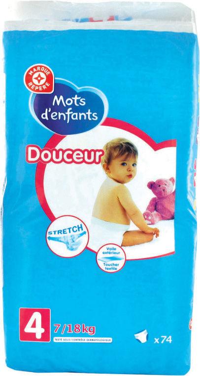 """Paquet de couches """"E.Leclerc - Mots d'Enfants"""" - Taille au choix (via 2.70€ sur la carte)"""