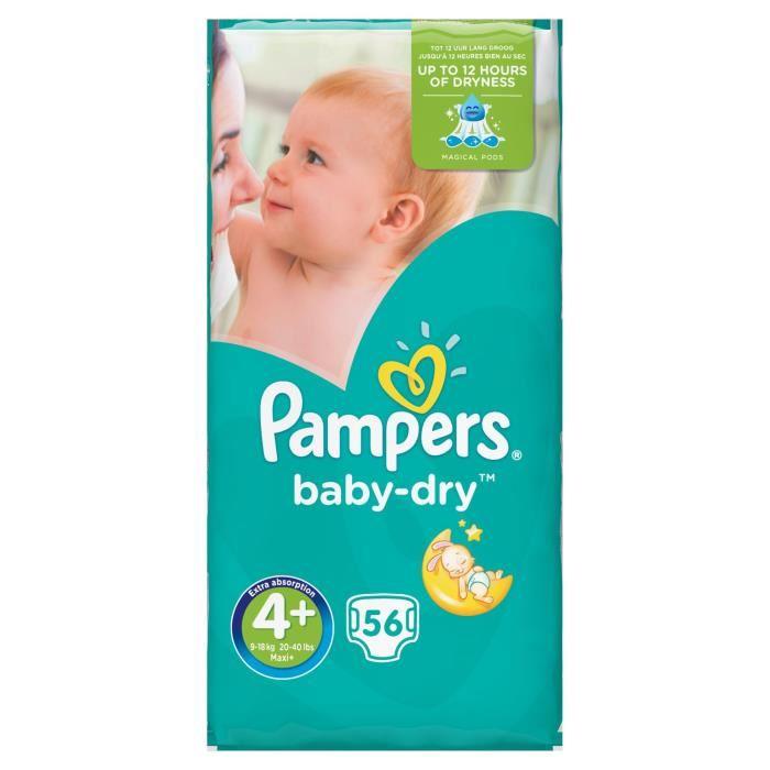 Couches Pampers Baby-Dry Value+ (Tailles au choix) en promotion - Ex : Paquet de 60 couches en taille 4 (via 8.70€ sur carte de fidélité + BDR)