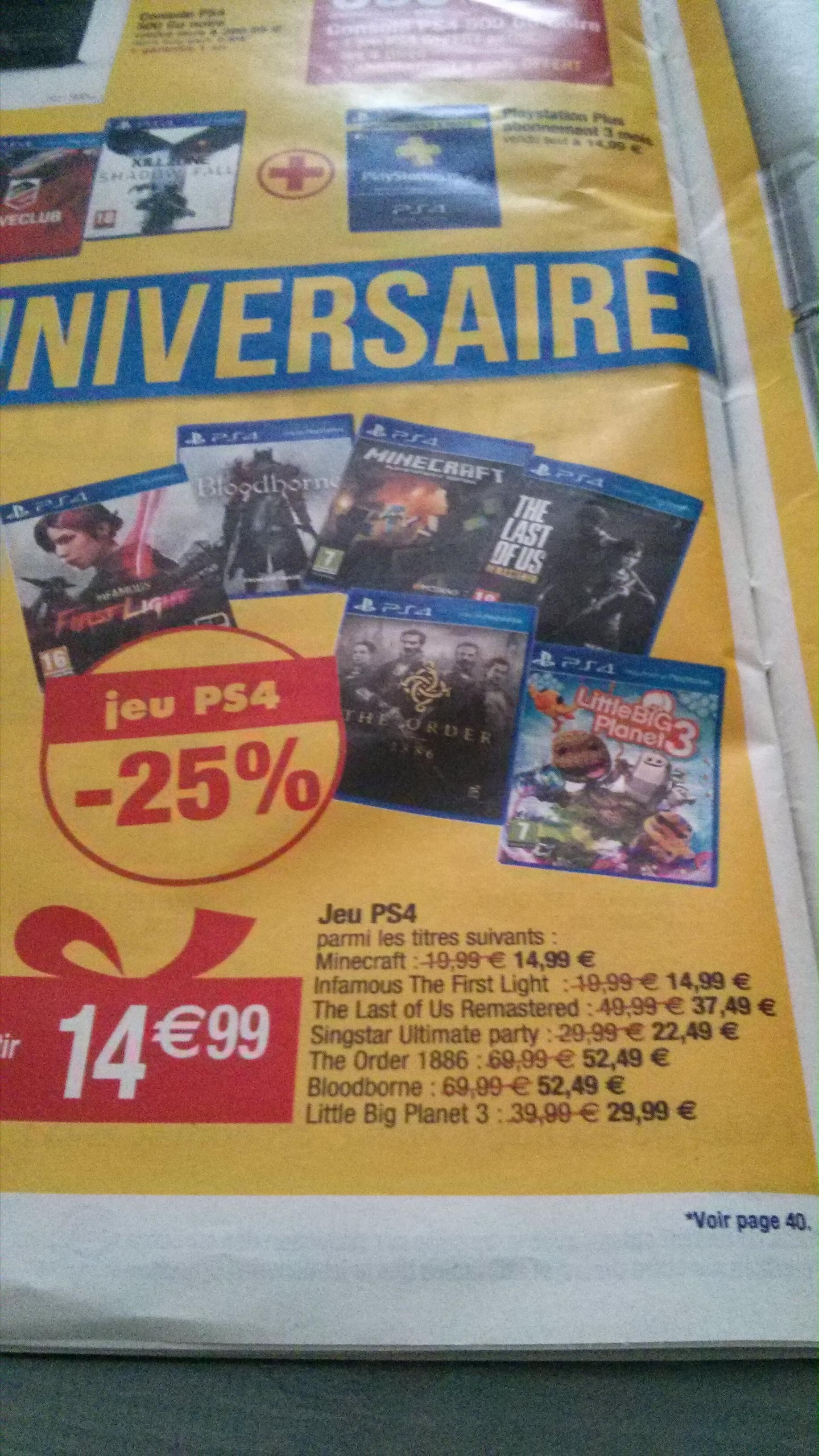 -25% sur une sélection de jeux PS4 - Ex : Bloodborne ou The Order