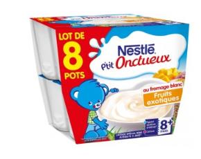 Lot de 8 yaourts P'tit Onctueux fruits exotiques ou natures Nestlé