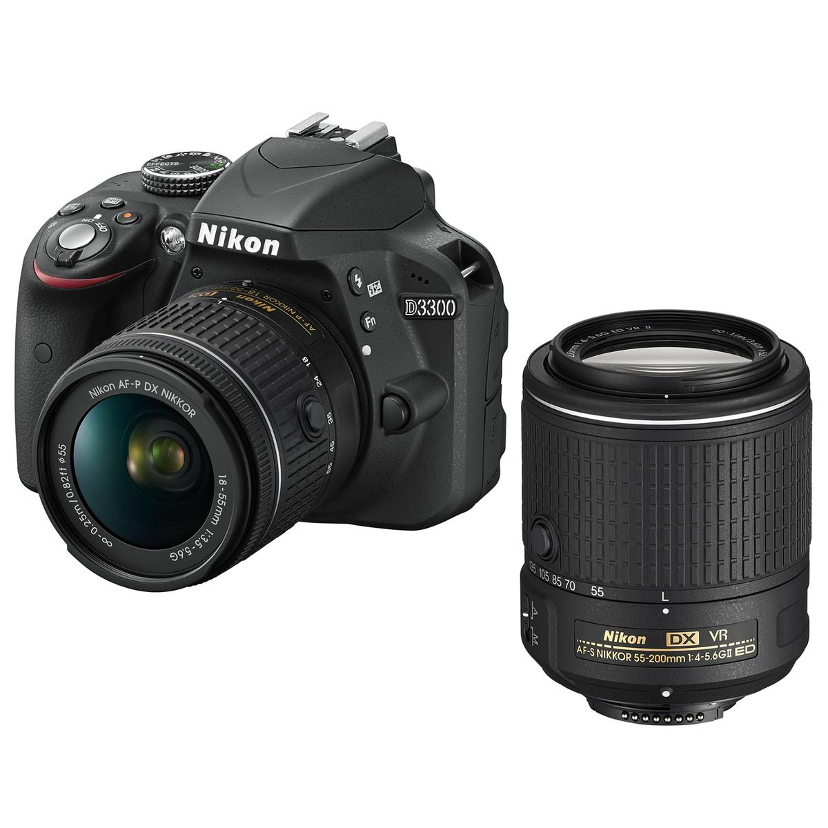 NIKON D3300 + 18-55mm + 55-200mm VR II (via 314,50€ sur la carte de fidélité)