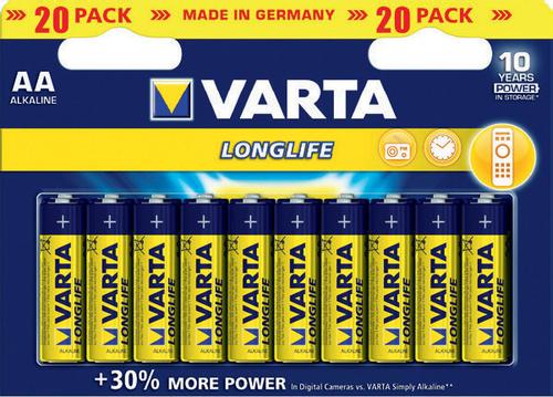 Lot de 20 piles alcalines Varta Longlife - AA ou AAA