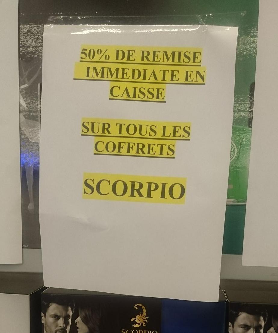 50% de réduction immédiate en caisse sur les coffrets Scorpio et Brut - Auchan Mulhouse (68)