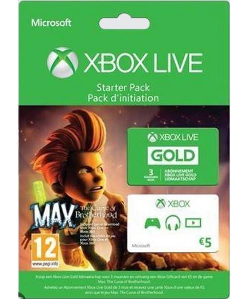 Abonnement Xbox Live Gold 3 Mois + Carte prépayée Xbox Live 5€ + Max The Curse of Brotherhood (Xbox One et Xbox 360)