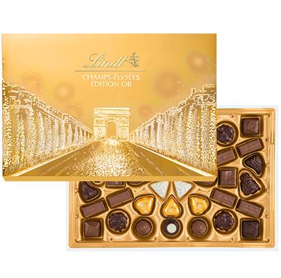 Boite de chocolats Lindt Champs-Elysées Edition OR - Carrefour Chelles (77)