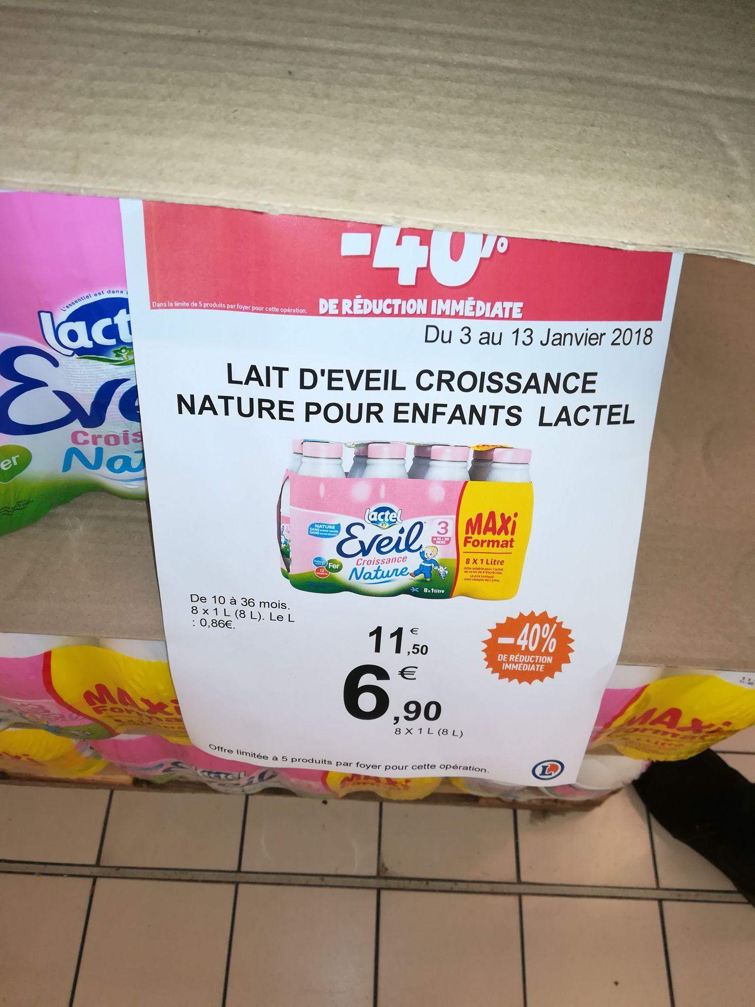 Lot de 8 bouteilles de lait Lactel Éveil Croissance