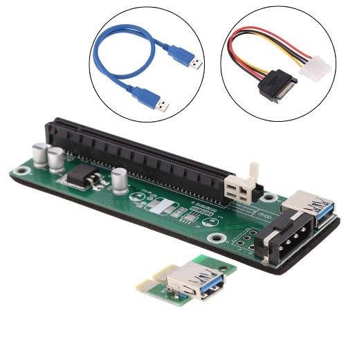 Riser card USB 3.0 PCI-E x16 - avec câble SATA & USB