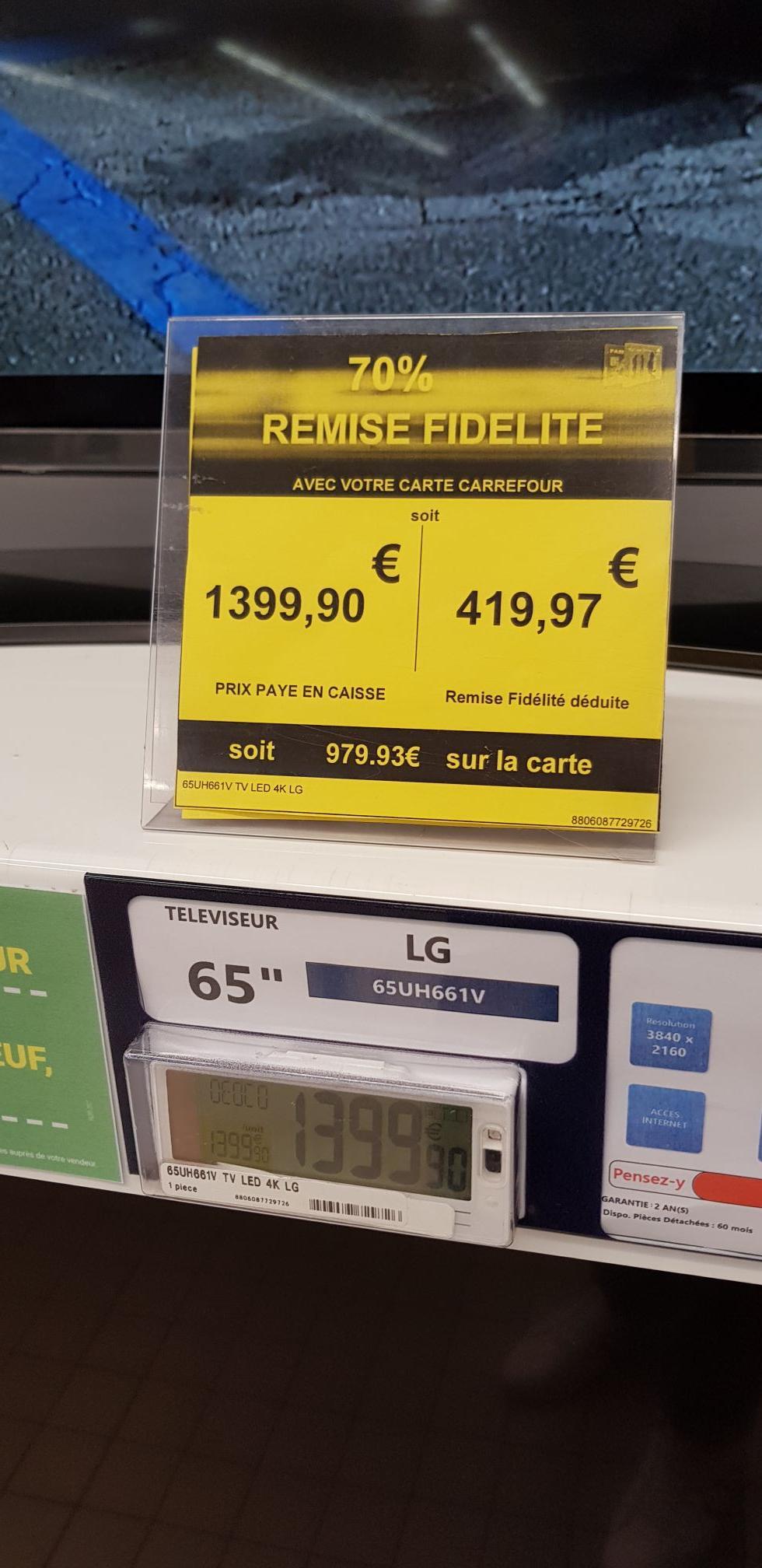"TV 65"" LG 65UH661V - LED, 4K UHD, Smart TV (via 979,73€ sur la carte fidélité) - Claira (66)"