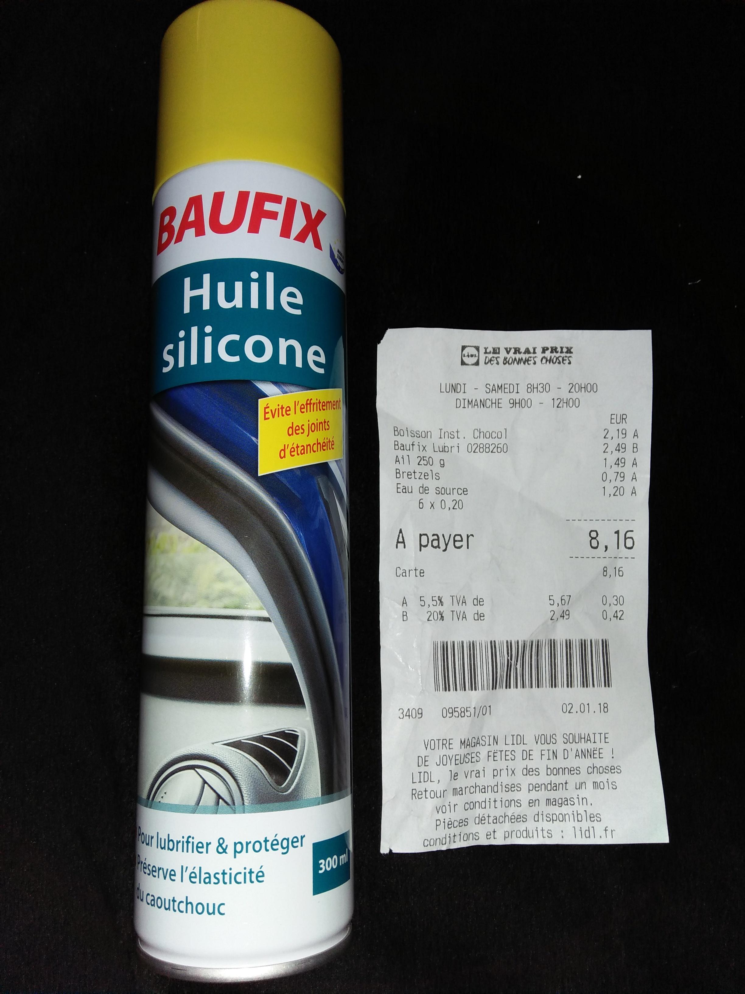Huile siliconne Baufix - 300 ml chez LIDL Villeneuve-le-Roi / Vitry-sur-Seine (92 / 94)