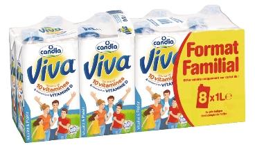 Lot de 2 packs de 8 briques de lait Candia Viva - 1 L