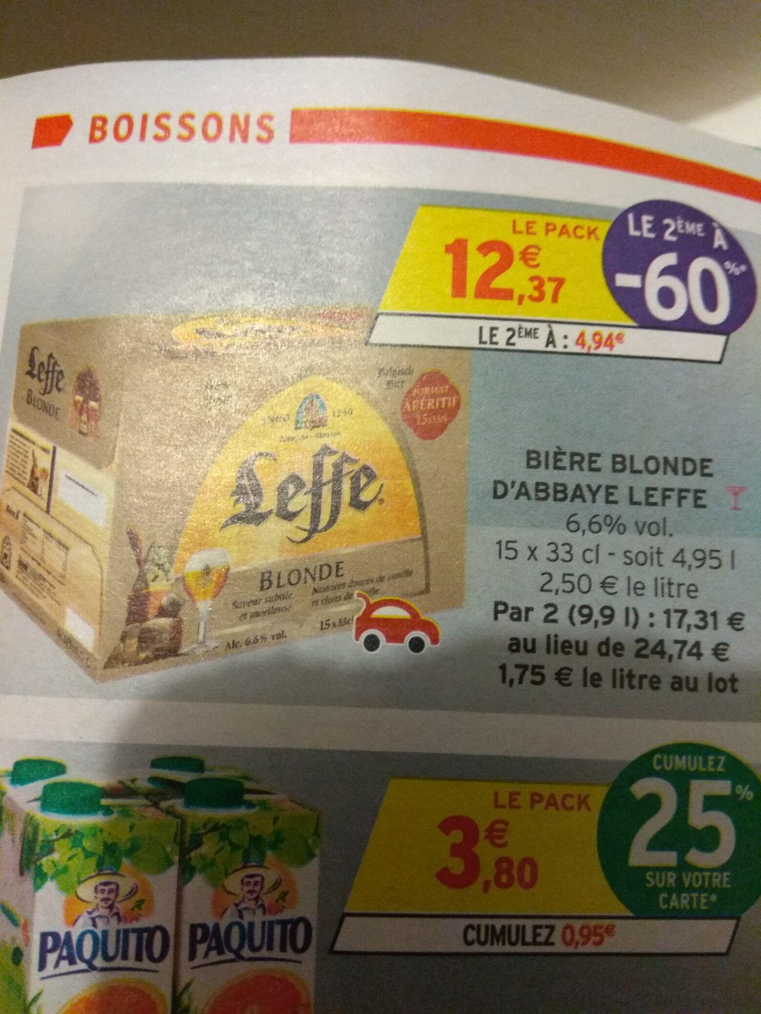 2 Packs de 15 bières blondes Leffe - 15x33cl