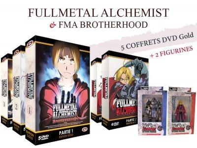 Pack 5 Coffrets DVD Fullmetal Alchemist Edition Gold - Intégrale (1ère série + Brotherhood) + 2 Figurines