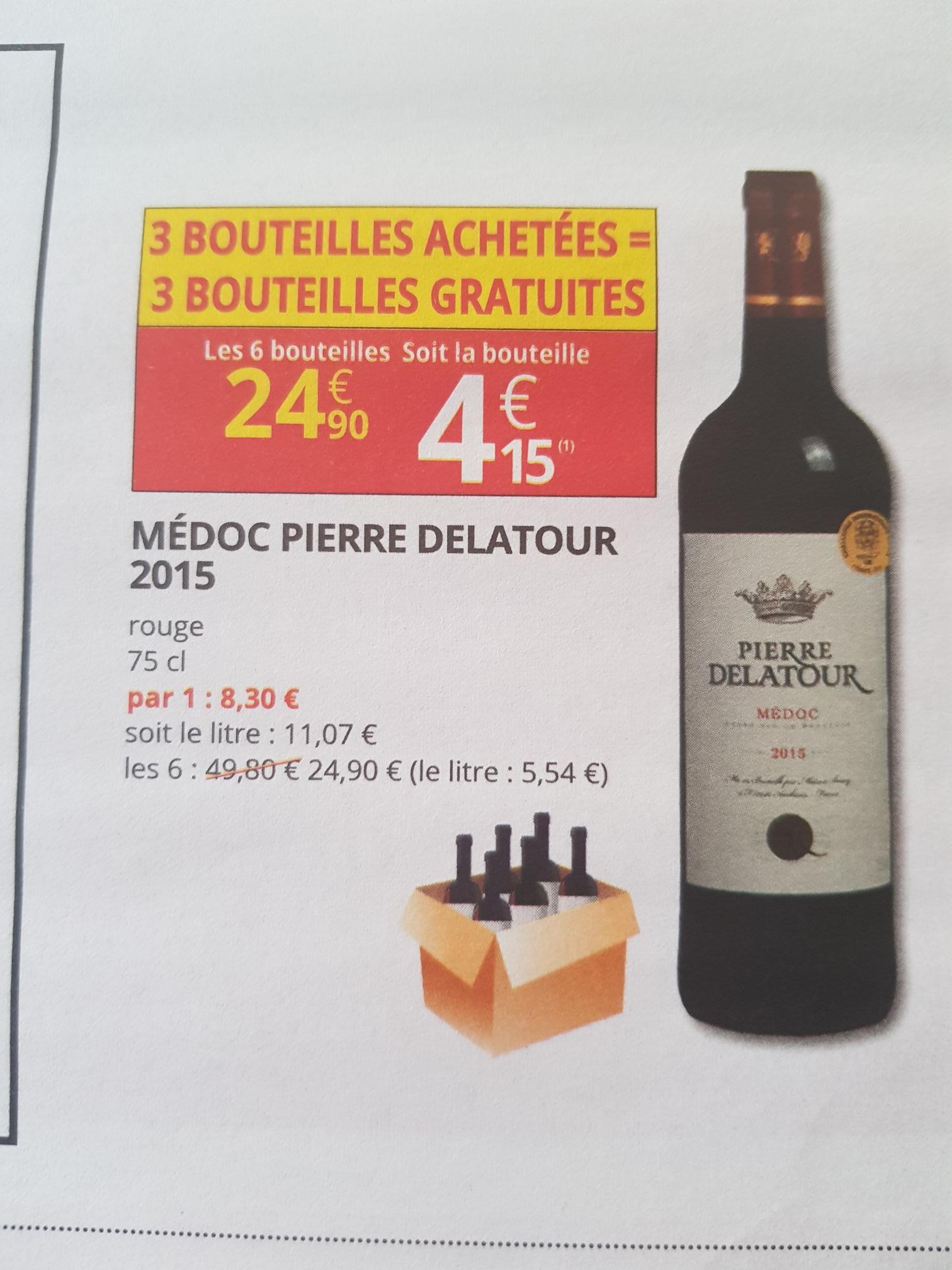 Lot de 6 bouteilles de vin Médoc Pierre delatour 2015