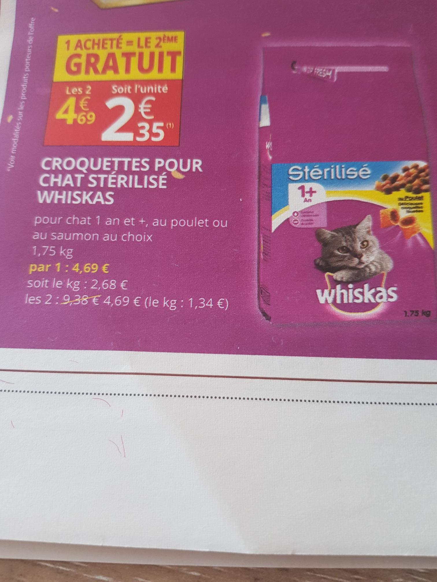 Lot de 2 Paquets Croquettes pour chat stérilisé Whiskas