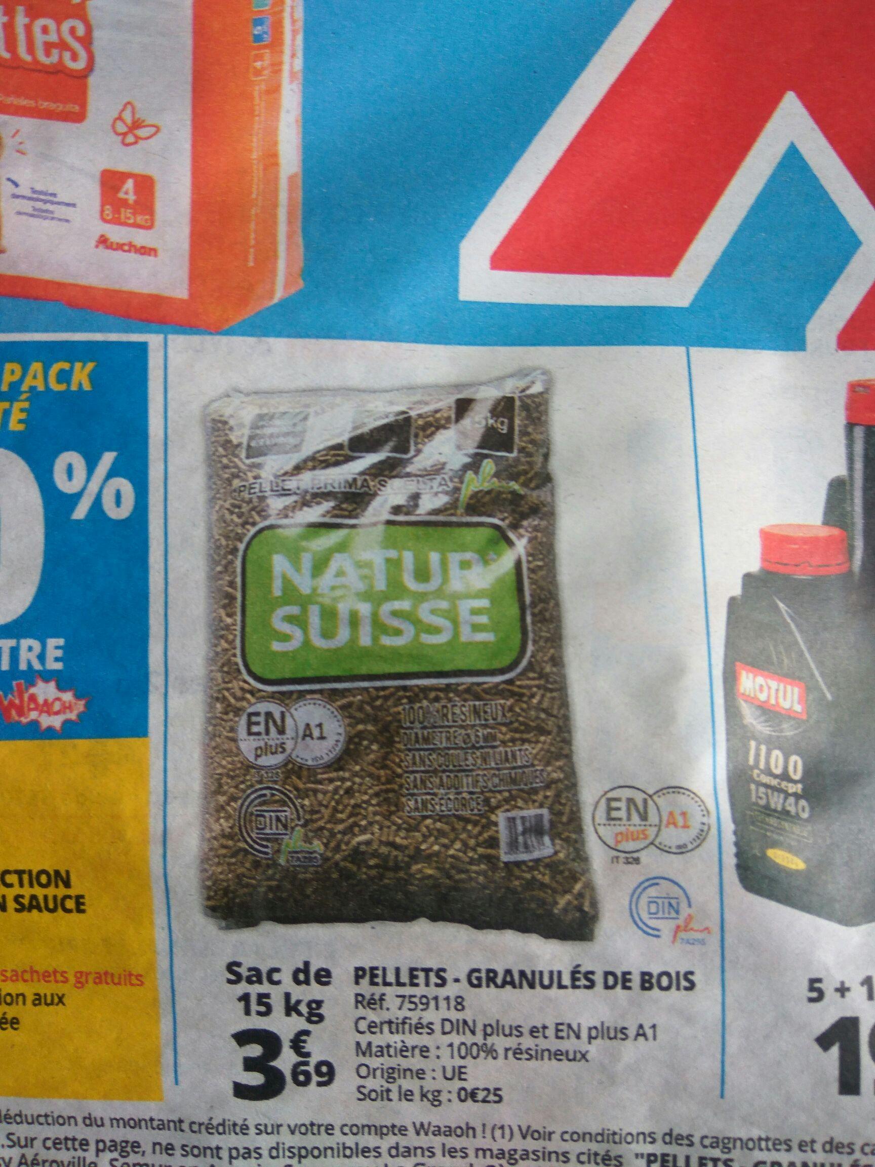 Sachet de 15 kg de granulés de bois Natur Suisse - 100% résineux, Din Plus / EN Plus A1 chez Auchan Viry-Noureuil (02)
