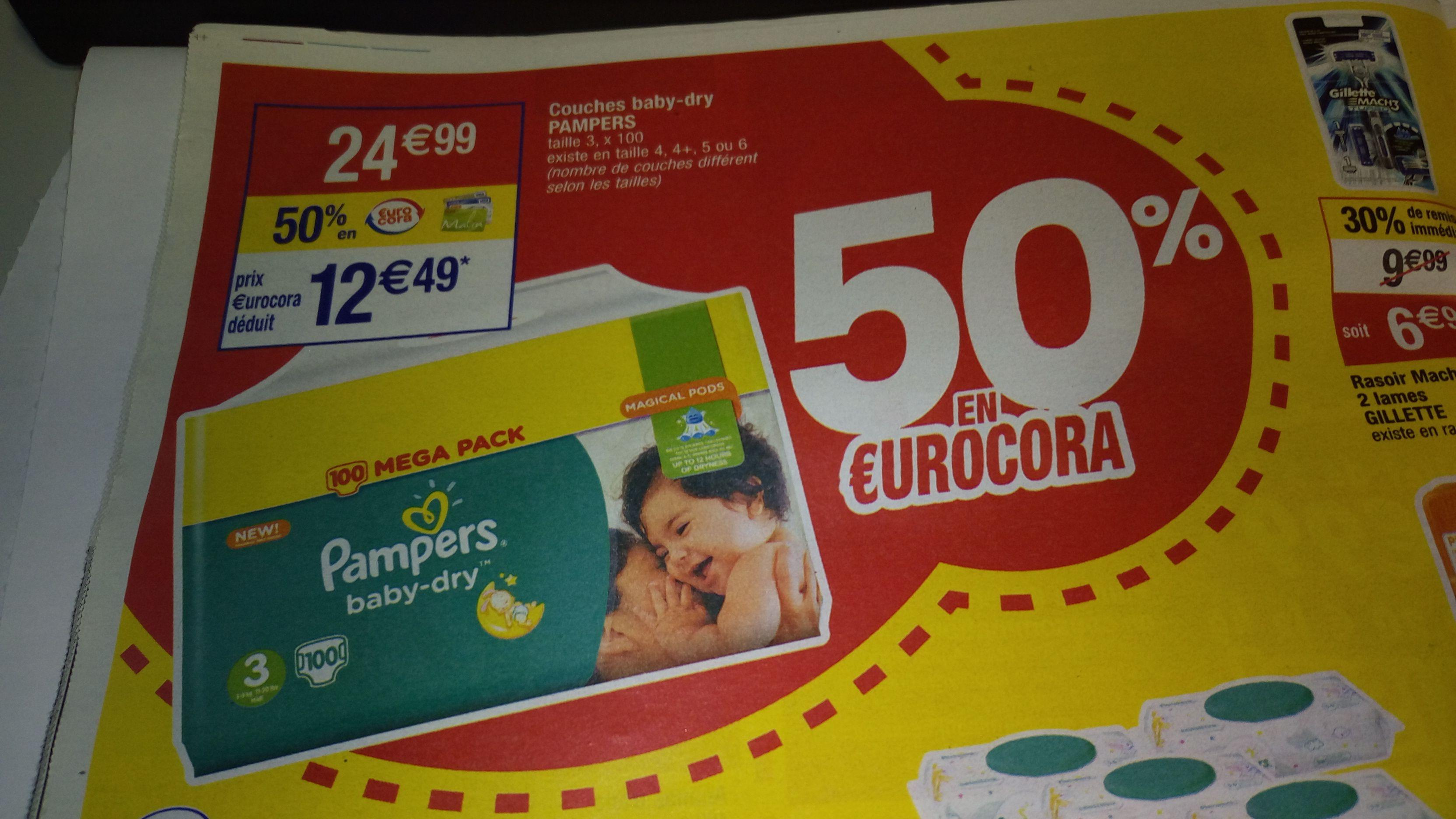 Paquet de couches Pampers Baby-Dry - différentes tailles (via BDR + 12.5€ en €uroCora)