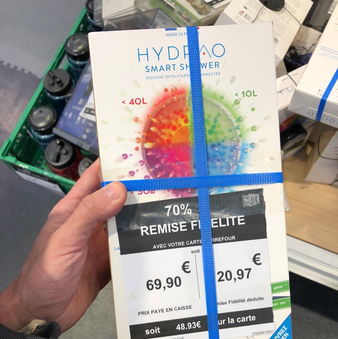 Pommeau de douche connecté Hydrao Smart Shower (via 48.93€ sur la carte de fidélité) au Carrefour Aix-en-Provence (13)