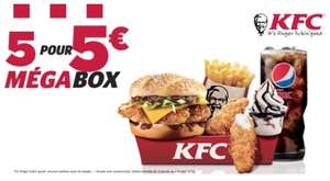 Menu Megabox : Double Krunch BBQ ou Fish + Moyenne frite +moyenne boisson+ 2 Tenders ou 3 Hot + 1 petit sunday