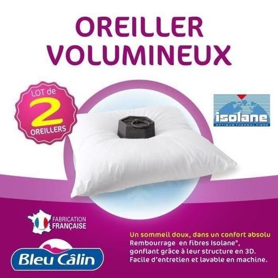 [Cdiscount à volonté] Lot de 2 oreillers Bleu calin Volumineux - 60x60cm, blanc